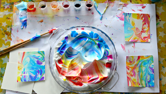Marbled-Paper-with-Shaving-Cream-and-Watercolors